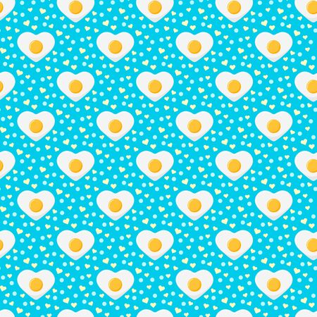 Fried egg colorful seamless pattern with hearts and dots on blue background. Delicious heart shape egg print. Endless texture. Sample children cartoon food background. Vector flat style illustration.