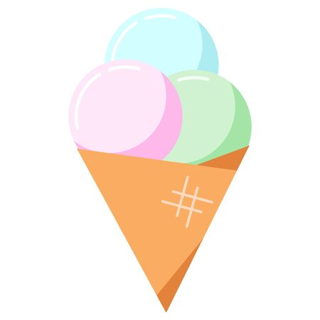Ice cream in cone icon vector illustration. Flat cartoon style different flavor balls delisious ice cream cone. Pink, blue, green waffle dessert isolated on white background. Иллюстрация