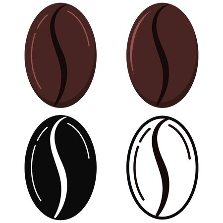Coffee grains logo icon set isolated on white background. Roasted brown fresh coffe beans - arabica, robusta varieties. Top view. Vector flat, simple, linear design cartoon style drink illustration. Иллюстрация