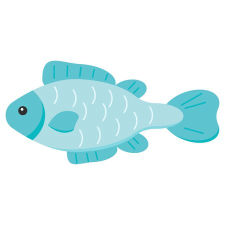 Vector cute fish flat design silhouette icon isolated on white background. Colorful cartoon aquarium, river, sea blue fish illustration for your design.
