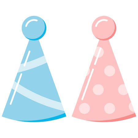 Birthday party hats set isolated on white background. Baby boy and girl born blue and pink paper caps decorated with stripes and dots. Vector flat design cartoon style illustration. Accessory Holiday