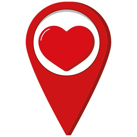 Red map pointer with red heart inside icon isolated on white background. Flat cartoon style vector illustration of love pin for valentines day, romantic, wedding design.