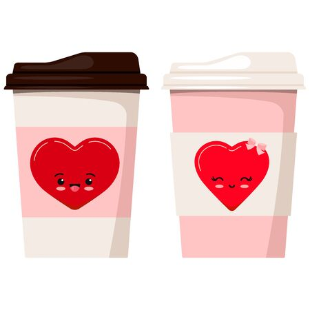 Coffee or tea couple paper cups decorated with emoji heart illustration isolated on white background. Valentines day romantic card template character element. Vector flat style drink to go card design Иллюстрация