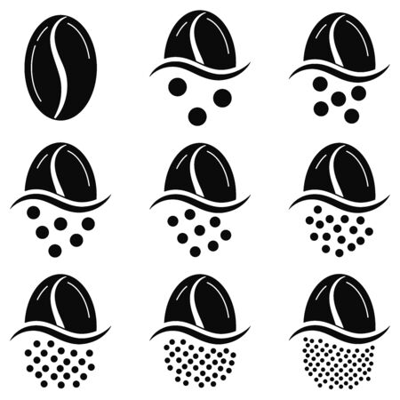 Coffee grind size chart grains icon set isolated on white background. Black and white coffee beans - infographic elements of level grinding degree. Vector flat, simple drink design illustration.