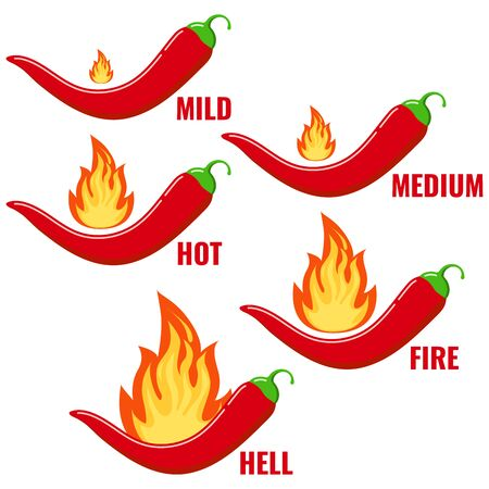 Red chilli pepper in fire flame icon vector set isolated on white background. Flat design cartoon style infographic level of spiciness illustration. Mild, medium, hot, fire, hell chilli pepper strengt