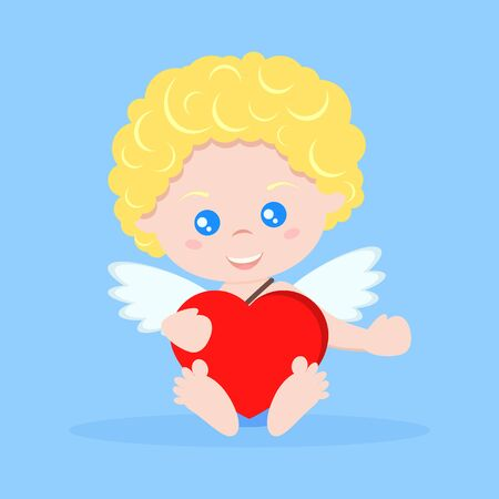 Vector isolated sweet and cute cupid boy in flat cartoon style. Cupid in sitting pose with heart. Happy Valentine s Day. Element for graphic design. Character illustration. Иллюстрация