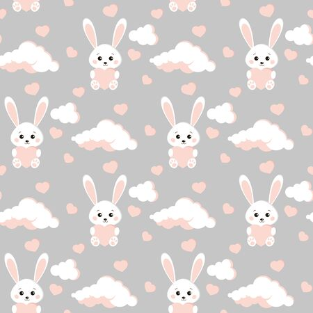 Vector seamless pattern with sweet and cute bunny white rabbit, clouds, pink hearts on grey background. Endless texture. Background for web, covers, banners, decoration, elegant children s design