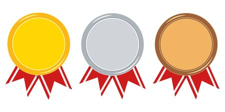 Medal with red ribbon set isolated on white background golden, silver, bronze template with empty space. Icon first, second, third place. Vector flat design illustration