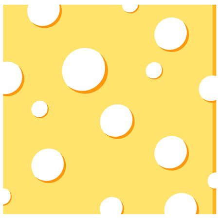 Cheese vector icon isolated on white background. Cheese concept. Square shape slice of yellow delicious cheese with round holes. Flat design cartoon style food sign vector illustration. Иллюстрация