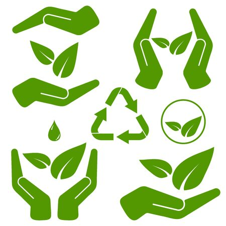 Hands holding green leaves vector illustration set isolated on white background. Save nature concept icon. Иллюстрация