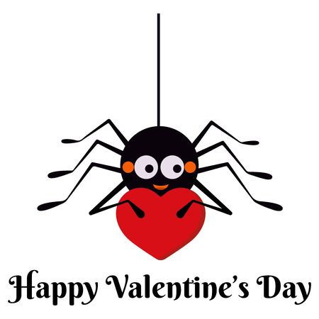 Cute black spider hanging on string of cobwebs with red heart isolated on white background. Animal character element of designs to celebrate Happy Valentines Day party. Flat design vector illustration