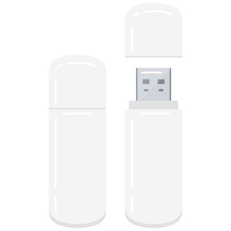 Usb flash drive icon isolated on white background in flat style. Vector illustration of pocket memory stick.