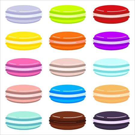 French macaroon cookies icon set isolated on white background. Flat design cartoon style vector illustration. Sweet and deliciuos, different taste colorfull template for cooking and restaurant menu. Иллюстрация
