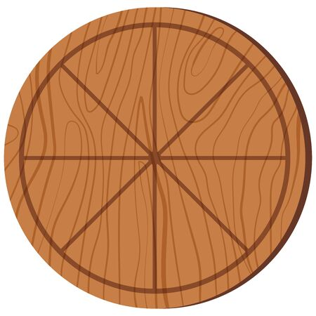 Empty pizza cutting board with sections wooden texture and serving round shape kitchen equipment. Flat design cartoon style icon illustration isolated on white background.