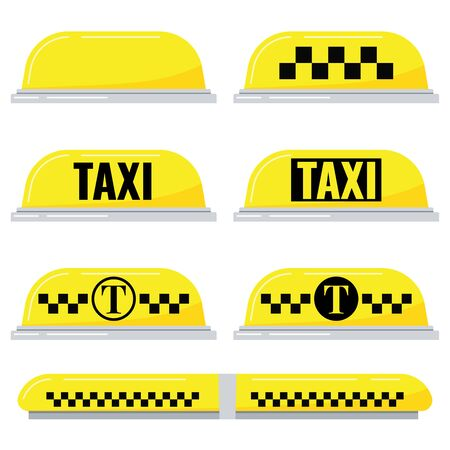 Taxi light sign vector set isolated on white background in cartoon flat style. Yellow taxi checkered lamp and text for car roof illustration. Yellow taxi carroof panel image collection for your design Иллюстрация