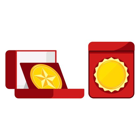 Golden medal blank set in open red velvet box top front view image isolated on white background. Vector flat design cartoon style illustration. Round shape icon leader sign mark of distinction.