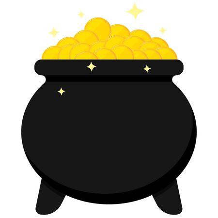 Black cauldron full of golden coins isolated on white background. Icon image of Leprechaun pot. Flat cartoon style vector symbol illustration. Happy saint patrick s day greetings card design element. Иллюстрация