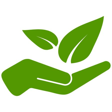 Hand holds green leaves vector illustration. Friendly environment icon isolated on white background. Single save nature concept. Eco logo template. Green color simple invironmental protection sign.