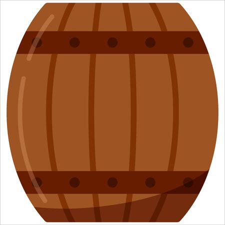 Wooden alcohol barrel, drink container, keg icon isolated on white background. Flat design barrel for wine, rum, beer or gunpowder. Vector Illustration.