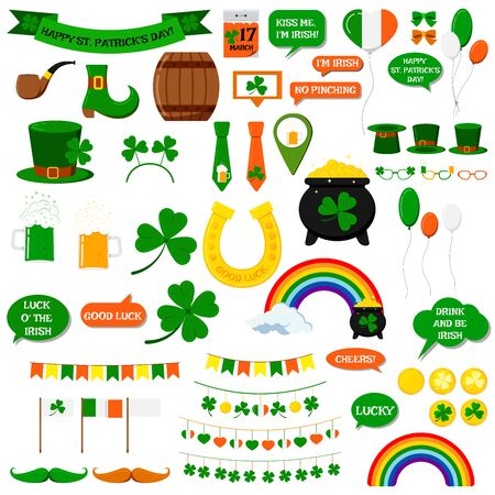 St. Patricks day vector icons set isolated on white background. Flat cartoon style design element for party, sales, photo booth props: pot, coins, rainbow, horseshoe, beer, clover, pipe, tie, hat.