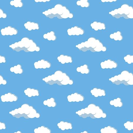 Clouds and sky vector flat design seamless pattern. White different form clouds on blue background. Abstract endless texture for web, covers, decoration, pharmaceutical print design. Иллюстрация