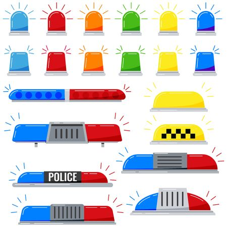 Clignotants sirène vector icon set isolé sur fond blanc. Feux clignotants d'alerte de couleur rouge, bleu, jaune, orange, vert dans un style plat. Sirène de police ou lumière d'ambulance.