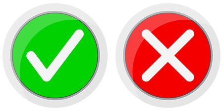 Yes and no vector icon set isolated on white background. Check yes or no round red and green color sign. Check mark icon collection. Tick and cross buttons. Flat cartoon design illustration.