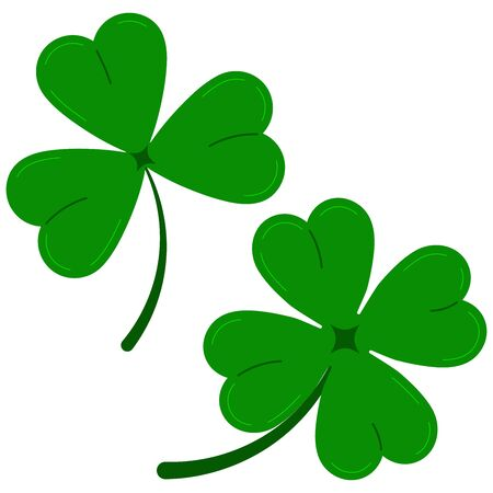 Clover leaves icon set isolated on white background green lucky four leaf clover and shamrock clover. Flat design cartoon style vector illustration. Traditional Irish symbol for St. Patrick s day.