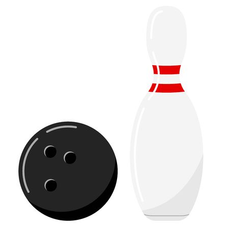Bowling ball and pin vector icon set isolated on white background. Black bowling ball and white skittle with two red strips. Flat cartoon style illustration. Ball game concept. Bowling symbols.