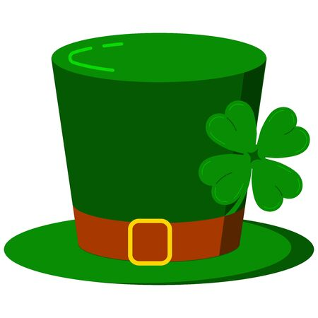 Leprechaun hat with four leaves clover icon isolated on white background. Flat cartoon design vector illustration. Traditional green cylinder headgear costume. Saint Patricks day carnival accessory.