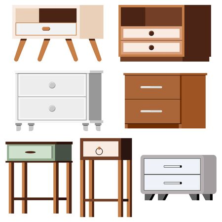 Nightstand bedside icons set isolated on white background. Flat design illustration of different room or office furniture wooden, plastic, rustic for modern or vintage interior vector signs for web .