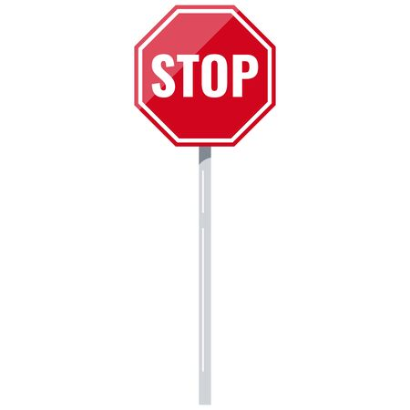 Stop red road sign with support vector icon isolated on white background. Flat design traffic icon illustration. Octagon shape travel symbol. Traffic regulatory warning stop symbol