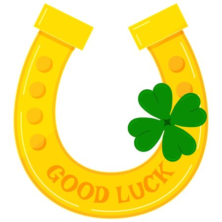 Gold horseshoe with green four leaves clover icon - lucky irish celtic and casino symbol isolated on white background. Good luck and Saint Patrick s Day concept. Flat cartoon style vector illustration