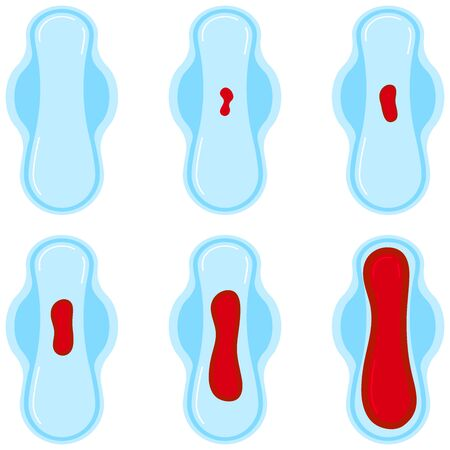 Menstrual period blood on sanitary pad set isolated on white background. Quantification of menstrual blood flow loss from light to heavy. Flat design vector feminine hygiene concept illustration.