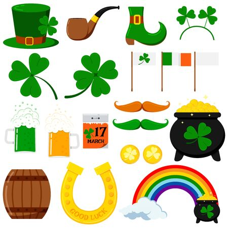 St. Patrick s day vector graphic design icons set isolated on white background. Flat cartoon style irish celtic elements for party, sales pot, coins, rainbow, horseshoe, clover, leprechaun pipe, hat.