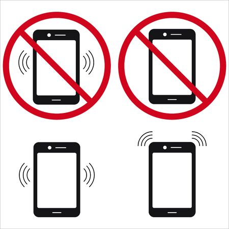No cell phone, do not use phone, ring phone sign set flat design icon isolated on white background. Vector illustration. Simple black sign in a red crossed out circle. Phone control symbol. Иллюстрация