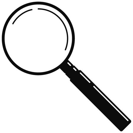 Black metal magnifying glass web icon isolated on white background. Simple search loupe with black handle. Business investigation illustration. Vector modern design magnifying glass logo for zoom tool