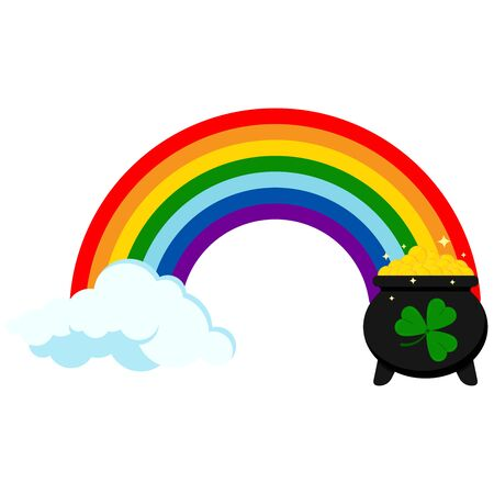 Rainbow icon with pot of gold coins and cloud at the ends isolated on white background. St patrick s day flat design sign. Lucky symbol.
