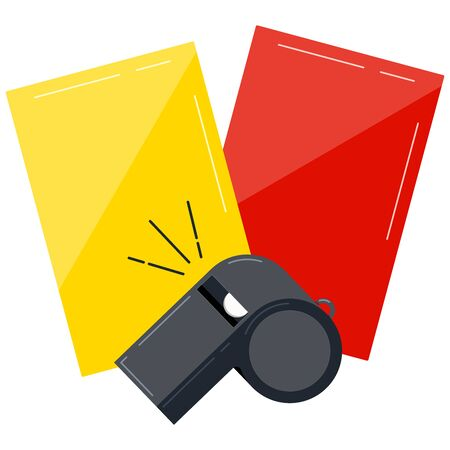 Referee whistle, yellow and red cards for football game isolated on white background. Vector sport judgement equipment concept. American football, basketball and soccer competition symbol. Flat design