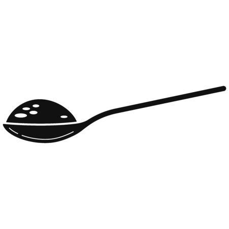 Spoon full with sugar black simple icon vector illustration isolated on white background. Flat design cartoon style spoon with salt, flour, other cooking ingredient. Side view. Baking Ingredient.