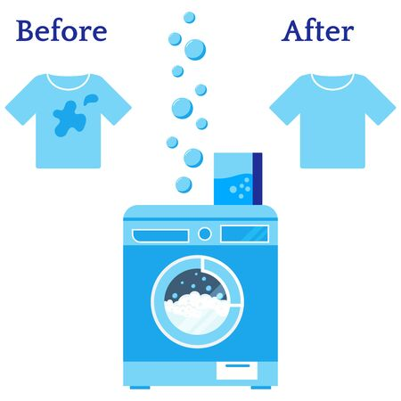Laundry washer machine, powder, clean and dirty shirt, bubbles vector illustration isolated on white background. Before and after concept. Flat design cartoon style clothing before and after washing.