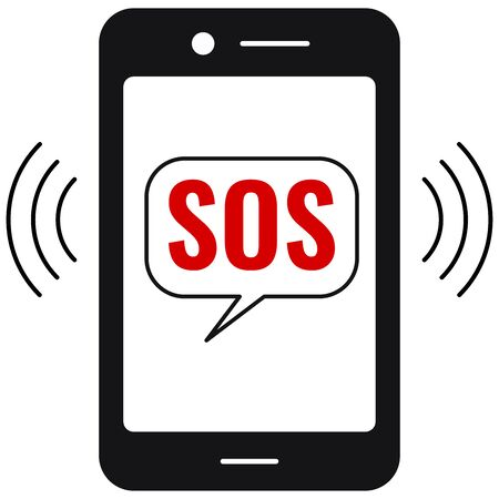 Sos call or sms on emergency phone vector icon isolated on white background. Flat simple design black touchscreen smartphone and red text SOS in speach bubble. Phone screen with hotline message. Ilustrace