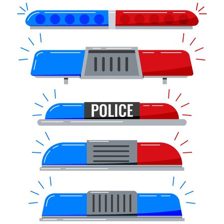 Police flashers siren vector icon set isolated on white background. Red and blue color alert flashing lights in flat cartoon style. Siren police or ambulance light illustration. Led flasher for police
