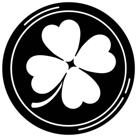 Black lucky casino pocker chip with four leaves clover icon isolated on white background. Single roulette chip sign for web, app design. Vector flat design simple monochrome illustration