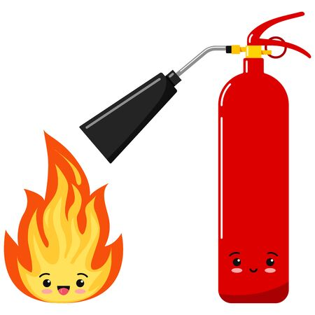 Emoji fire flame and fire extinguisher icon set isolated on a white background. Hot cartoon flame energy emoticon sign, flaming symbols. Flat design vector cartoon kawaii characters illustration.