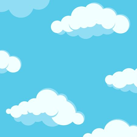 Sky with clouds background. White fluffy clouds on blue summer sky vector illustration. Flat design cartoon style nature wallpaper. Good day sunny weather.