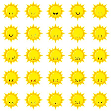 Sun emoji vector set. Flat sunshine emoticon cartoon icon logo design, kawaii style. Happy, sad, winking, crying summer sun faces with different emotions isolated on white background. Weather emoticon