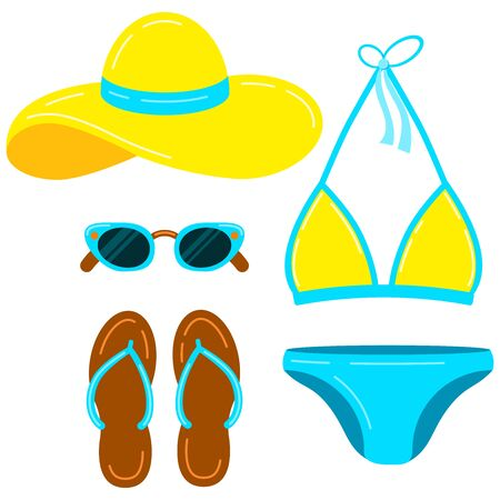 Swimsuit, slippers, hat, sunglasses, vector icon set isolated on white background. Flat design cartoon style women clothes illustration. Women summer beach accessories sign collection.