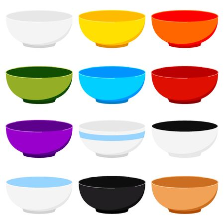 Soup bowl icons set isolated on white background. Empty colorful ceramic dishes collection - red, white, green, blue, yellow, with border. Flat design clean dinner plate icon. Vector dish illustration