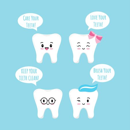 Cute tooth emoji icon set with speach bubbles isolated on blue background. Flat kawaii design girl and boys dental emoticon. Teeth emotions collection. Vector cartoon happy characters.